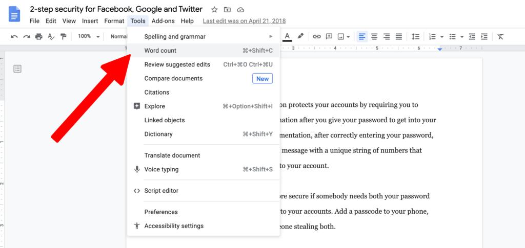 google docs word count