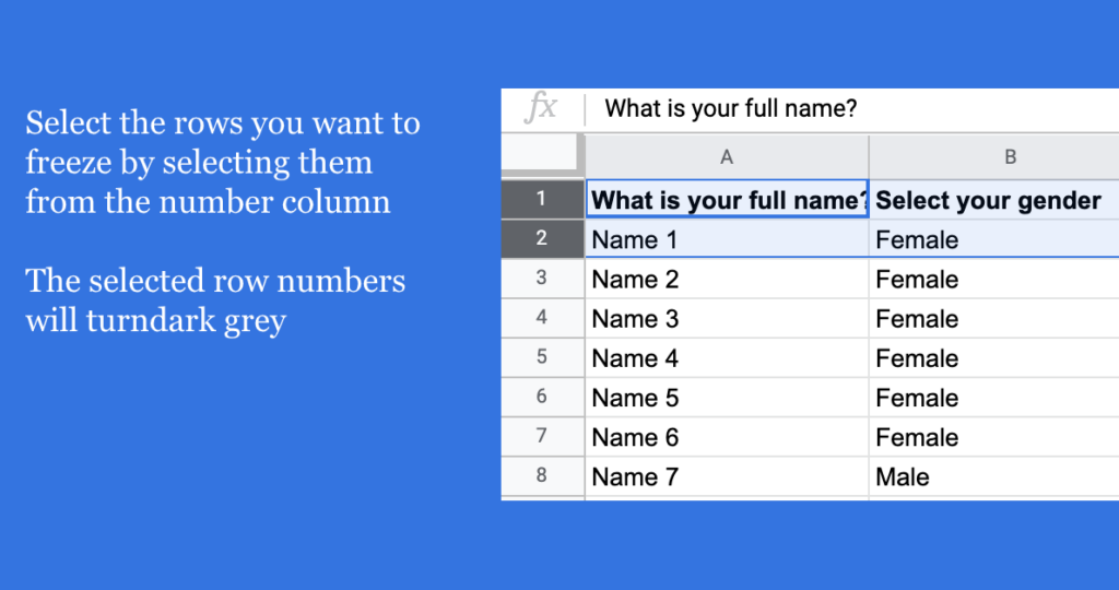 freeze rows in Google Sheets